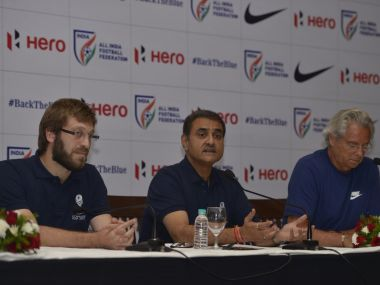 AIFF president Praful Patel with Javier Ceppi and Luis Norton De Matos. Image courtesy: Twitter @IndianFootball