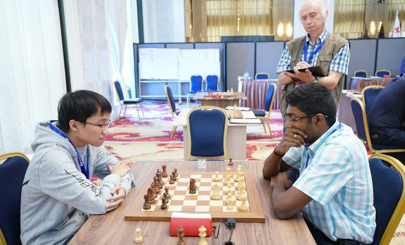 Adhiban had a strong opponent in the form Nguyen Ngoc Truongson. Image courtesy: Amruta Mokal