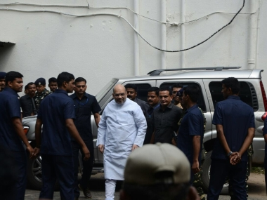 Amit Shah arriving at the court. Image courtesy: Kamini Vyas
