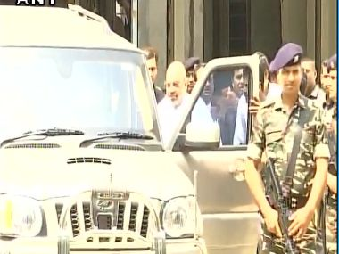 Amit Shah leaves after appearing before a sessions court in Ahmedabad as Maya Kodnani's witness in 2002 Naroda Gaam riots case. Twitter/@ANI