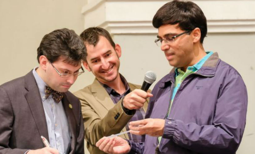 Viswanathan Anand during the drawing of lots on Friday. John Saunders