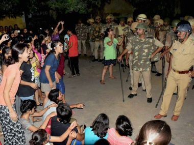 A file image of BHU students and police during a face-off in Varanasi. PTI