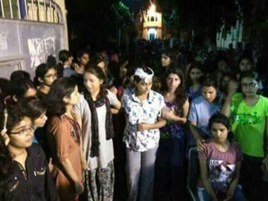 BHU students protesting on Saturday. News18