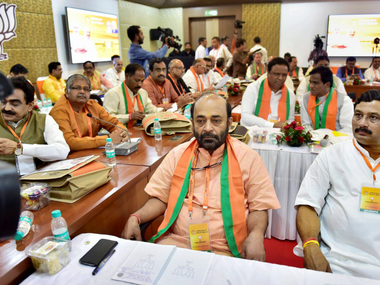 New Delhi: BJP leaders at the party office bearers' meeting at NDMC Convention Centre, in New Delhi on Sunday. PTI