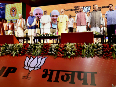 Narendra Modi, Amit Shah and other BJP leaders at the national executive meet in New Delhi on Monday. PTI