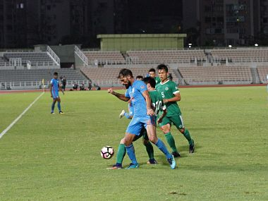 Striker Balwant Singh in action against Macau. Image Courtesy:  Twitter/@IndianFootball