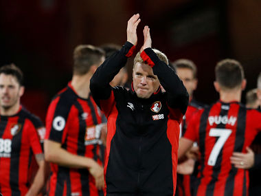 Bournemouth manager Eddie Howe applauds fans after the match. Reuters