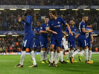 Chelsea's Tiemoue Bakayoko celebrates scoring their fourth goal with Marcos Alonso and team mates. Reuters