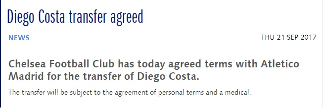 Chelsea's statement on Diego Costa's transfer to Atletico Madrid being agreed lasted just 30 words.