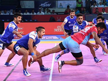 Haryana and Jaipur played out an entertaining tie when they met in the Sonepat leg of the Pro Kabaddi League. Image courtesy: Twitter @ProKabaddi