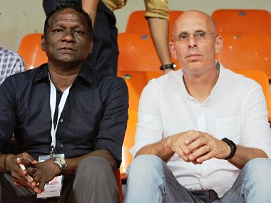 IM Vijayan left, with India senior football team's head coach Stephen Constantine. Image courtesy: Twitter @IndianFootball
