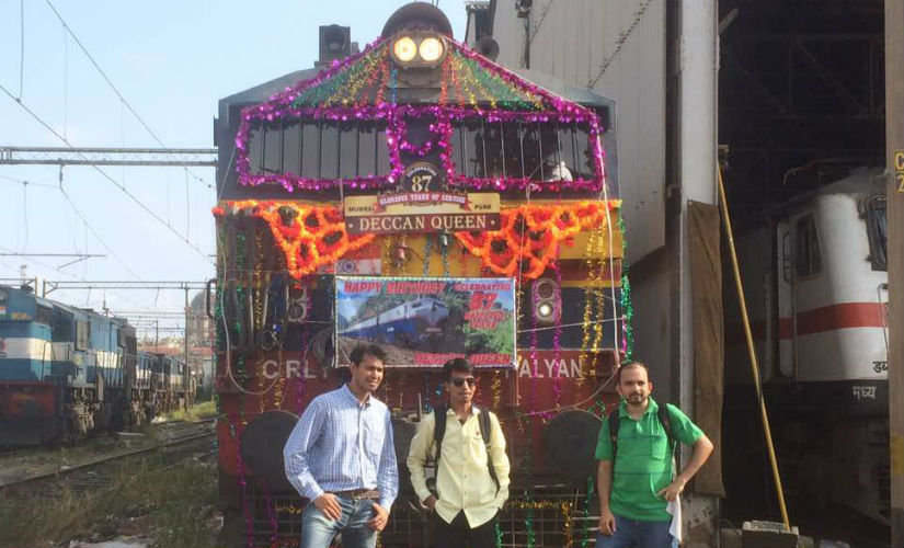 Railfans decorating the locomotive of Deccan Queen Exp on its birthday. Photo credit: Amol Nikam