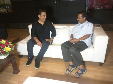 Delhi chief minister Arvind Kejriwal meets Kamal Haasan in Chennai on Thursday. Twitter @AamAadmiParty