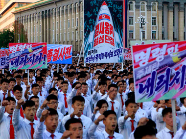 thousands of North Koreans gathered at Kim Il Sung Square to attend a mass rally against America on Saturday. AP