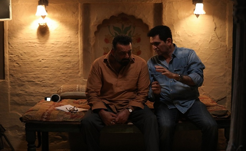 Sanjay Dutt with Omung Kumar on the sets of Bhoomi. File Photo