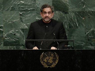 Prime Minister of Pakistan Shahid Khaqan Abbasi addressed the United Nations General Assembly Thursday. AP