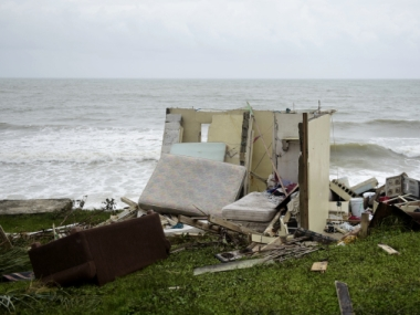 A house completely destroyed by Hurricane Maria. AP