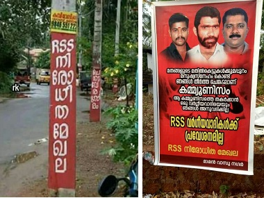 "Posters put up in villages of Kannur ""banning"" RSS. Firstpost/Debobrat Ghose"