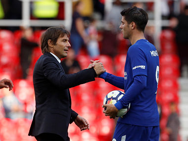 """Soccer Football - Premier League - Stoke City vs Chelsea - bet365 Stadium, Stoke-On-Trent, Britain - September 23, 2017 Chelsea manager Antonio Conte shakes hands with Chelsea's Alvaro Morata after the match Action Images via Reuters/Craig Brough EDITORIAL USE ONLY. No use with unauthorized audio, video, data, fixture lists, club/league logos or """"live"""" services. Online in-match use limited to 75 images, no video emulation. No use in betting, games or single club/league/player publications. Please contact your account representative for further details. - RC1704460870"""