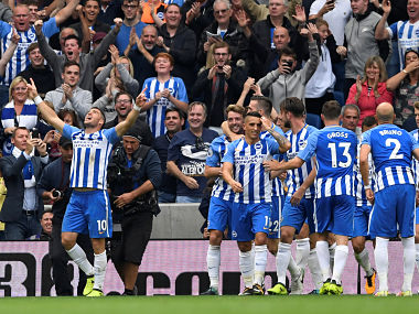 "Soccer Football - Premier League - Brighton & Hove Albion vs Newcastle United - Amex Stadium, Brighton, Britain - September 24, 2017 Brighton's Tomer Hemed celebrates scoring their first goal with teammates Action Images via Reuters/Tony O'Brien EDITORIAL USE ONLY. No use with unauthorized audio, video, data, fixture lists, club/league logos or ""live"" services. Online in-match use limited to 75 images, no video emulation. No use in betting, games or single club/league/player publications. Please contact your account representative for further details. - RC1160557760"