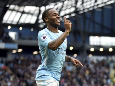 Manchester City's Raheem Sterling celebrates scoring his side's second goal of the gam, during the English Premier League soccer match between Manchester City and Crystal Palace, at the Etihad Stadium, in Manchester, England, Saturday, Sept. 23, 2017. (Nick Potts/PA via AP)