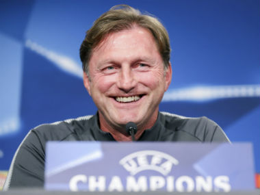 Leipzig's head coach Ralph Hasenhuettl smiles, during a press conference, at the Red Bull Arena in Leipzig, Germany. AP