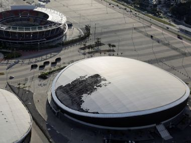 An aerial view shows the Velodrome, which had its roof partially burnt after a fire at the Olympic Park. Reuters