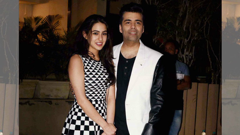 Sara Ali Khan with Karan Johar. File Photo