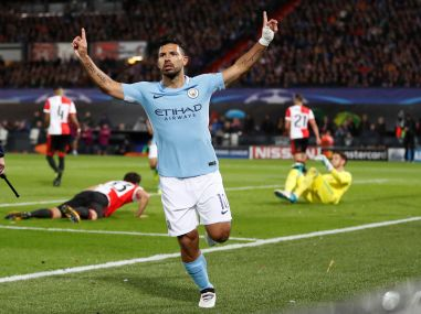 Manchester City's Sergio Aguero celebrates scoring their second goal in their Champions League match. Reuters