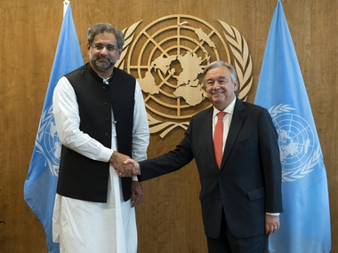 Prime Minister of Pakistan Shahid Khaqan Abbasi, left, is greeted by United Nations Secretary-General Antonio Guterres before a meeting Thursday, Sept. 21, 2017, at U.N. headquarters. AP
