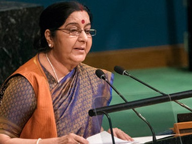 Sushma Swaraj addressing the United Nations General Assembly. AP
