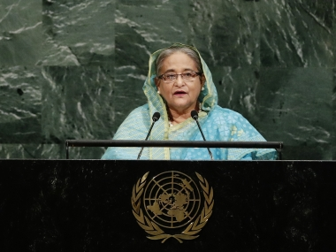 Bangladesh PM Sheikh Hasina at the UN General Assembly. AP