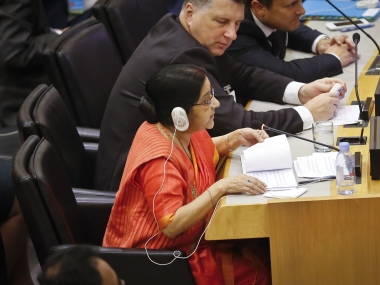 Sushma Swaraj at the United Nations General Assembly on Friday. AP