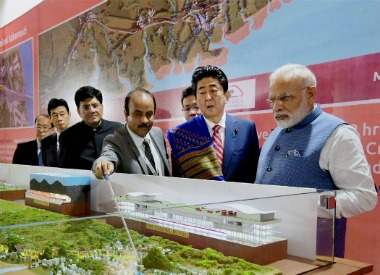File image of Narendra Modi with his Japanese counterpart Shinzo Abe at Ground Breaking ceremony of Mumbai-Ahmedabad High Speed Rail Project, in Ahmedabad. PTI