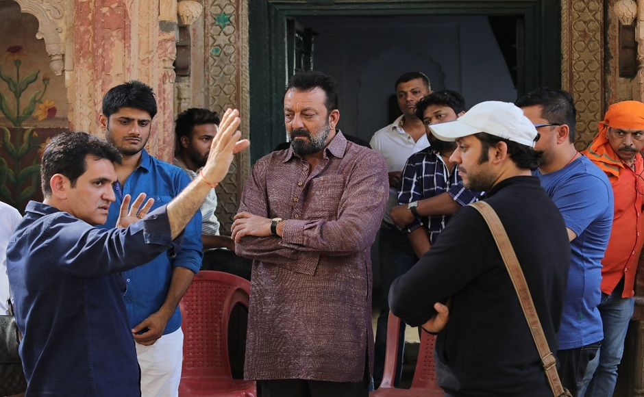 Director Omung Kumar briefs Sanjay Dutt on the sets of his first film since his release from Yerawada Jail