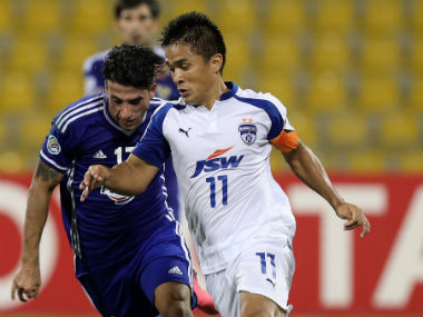Bengaluru FC's Sunil Chhetri (R) in action against Iraq's Air Force Club during the AFC Cup final on 5 November, 2016. AFP