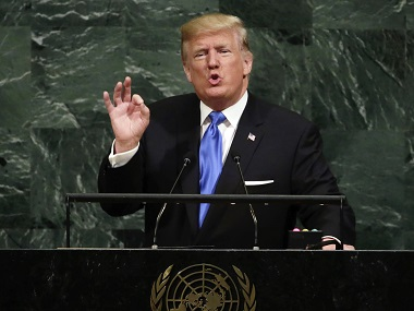 Donald Trump addresses the United Nations General Assembly. AP