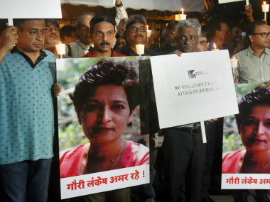 Journalists participate a protest in Mumbai on Wednesday to protest condemn the killing of Journalist Gauri Lankesh in Mumbai. PTI