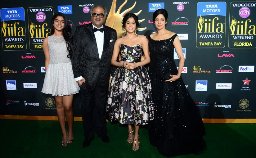 Jhanvi with her parents, Sridevi and Boney Kapoor, and younger sister Khushi on the IIFA green carpet a few years ago. File Photo