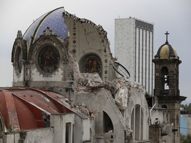 A church damaged after the Mexico earthquake. AP