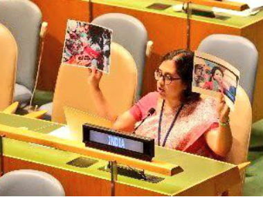 Paulomi Tripathi speaking at the UN. Twitter @meaIndia