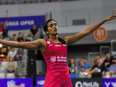 PV Sindhu celebrates her victory against Nozomi Okuhara at the Korea Open final. AFP