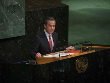 China's foreign minister Wng Yi speaking at the UNGA. AP