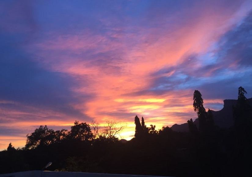 Beautiful evenings, as seen from the Ashrama rooftops – a regular occurrence