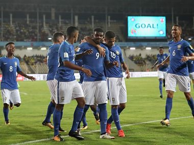 Lincoln (No 9) celebrates with teammates after scoring Brazil's first goal. Image courtesy: FIFA