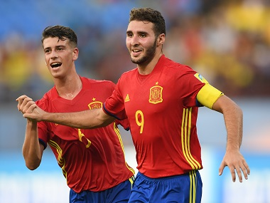 Spain's Abel Ruiz (right) celebrates after scoring his second goal against Niger. Getty Images