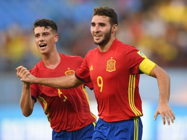 Spain's Abel Ruiz celebrates with team mate Antonio Blanco after scoring his second goal against Niger. Getty