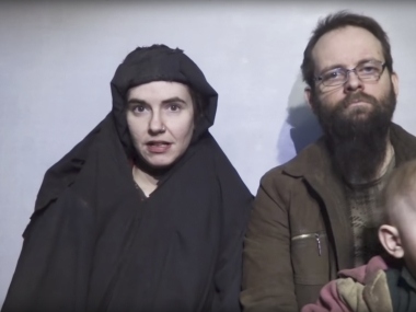 US citizen Caitlan Coleman and her Canadian husband Joshua Boyle in an image from a video released by Taliban Media in December 2016. AP