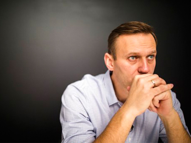 Russian Opposition leader Alexei Navalny after his release from jail in Moscow. AP