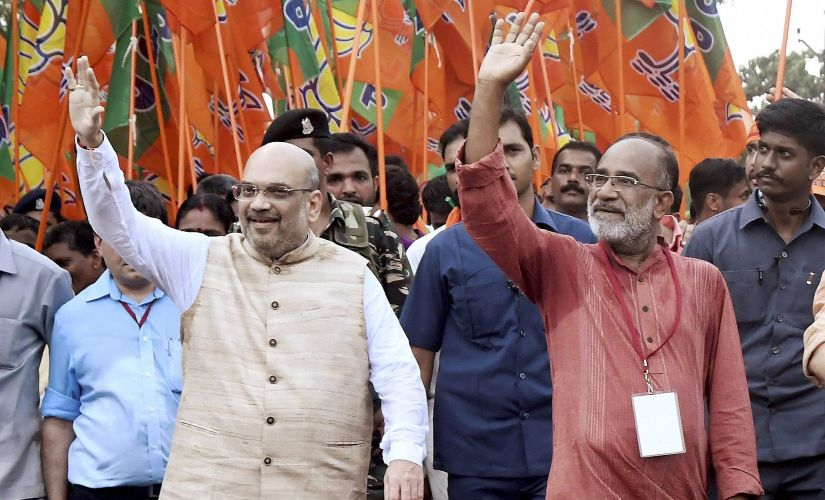 BJP national president Amit Shah and tourism minister Alphonse Kannanthanam were recently at Payyannur in Kannur as part of Janaraksha Yatra. PTI